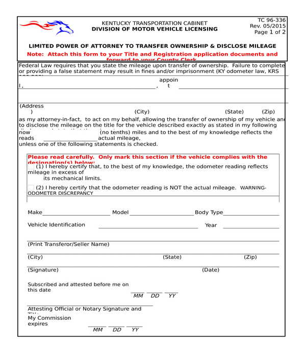 vehicle mileage disclosure power of attorney form