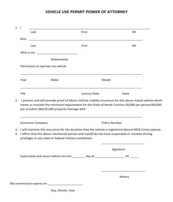 vehicle use permit power of attorney form