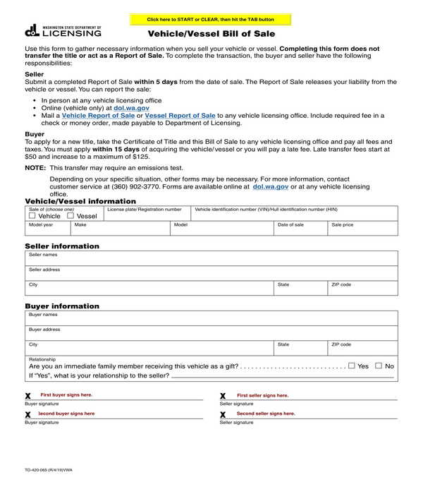 vehicle vessel bill of sale form