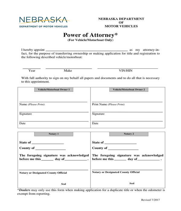 vehicle and motorboat power of attorney form
