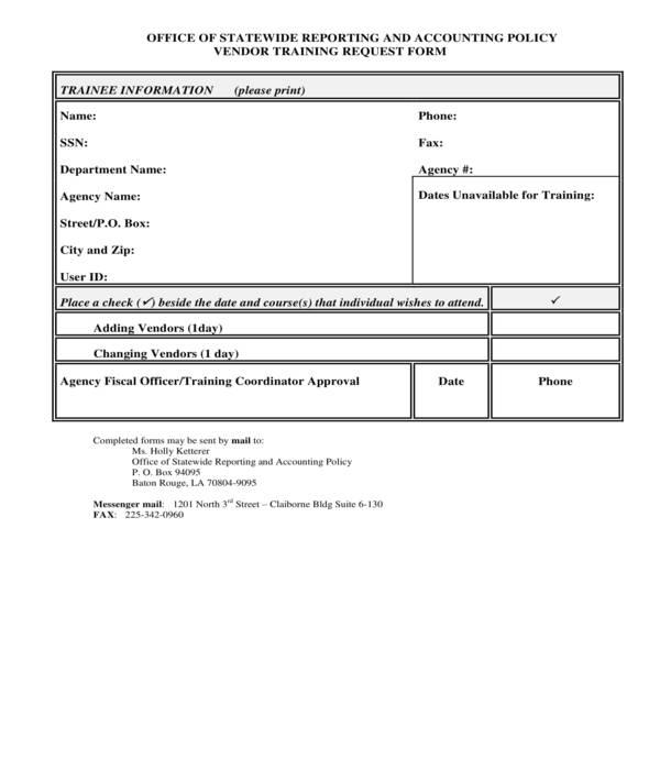 vendor training request form
