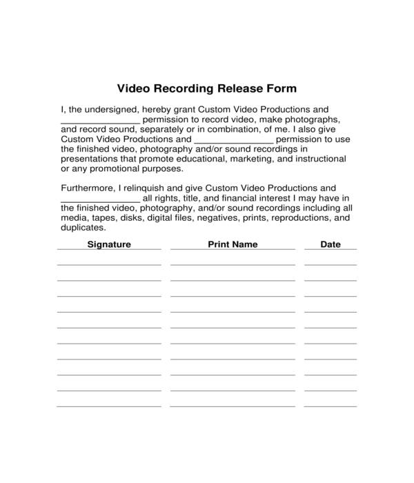 video recording release form