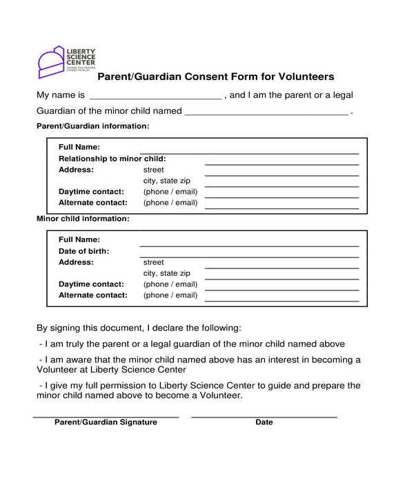 volunteer parental consent form