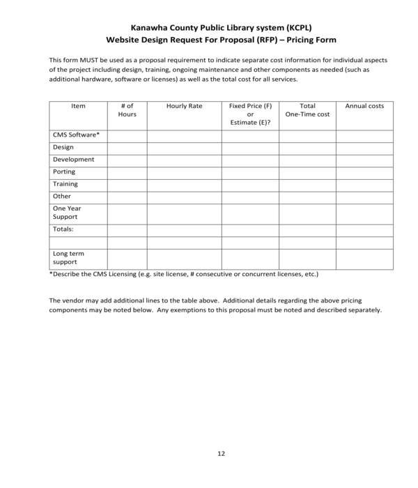 website design proposal request pricing form
