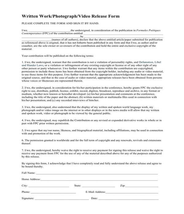 written work photograph and video release form