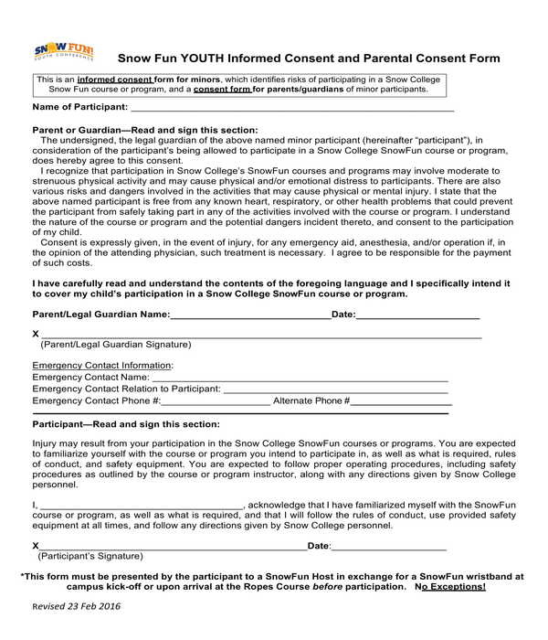 youth informed consent and parental consent form
