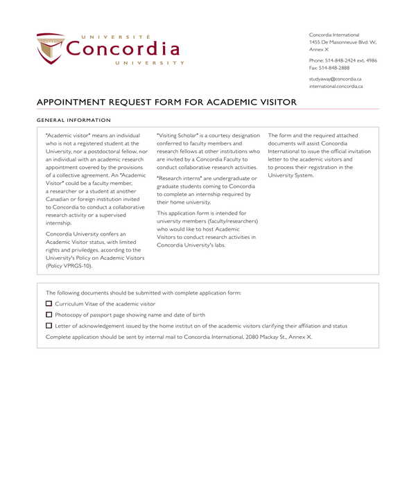 academic visitor appointment request form
