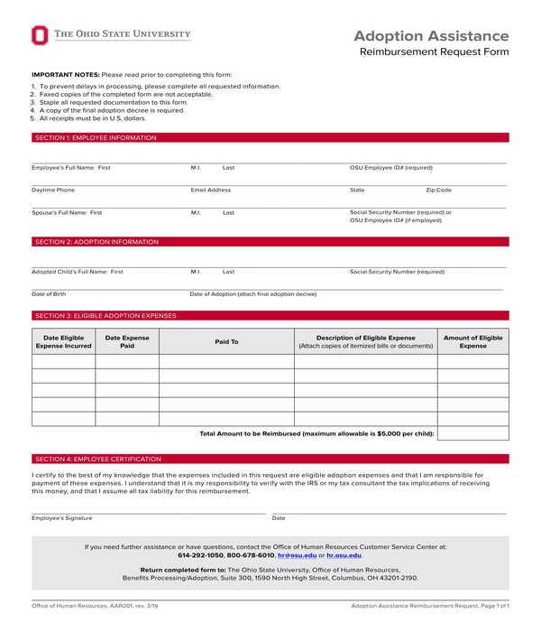 adoption assistance reimbursement request form