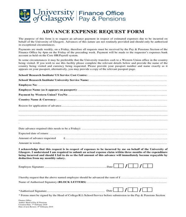 advance expense request form