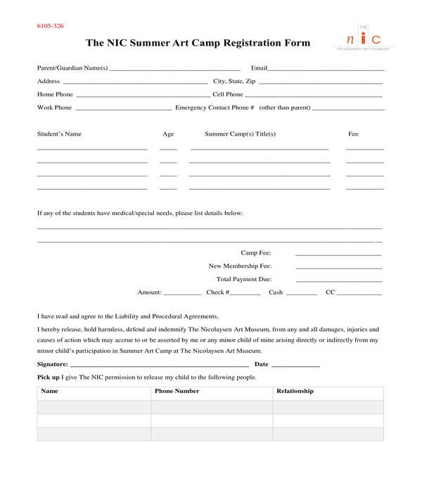 art camp registration form