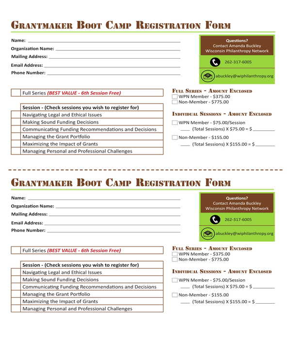 boot camp registration form