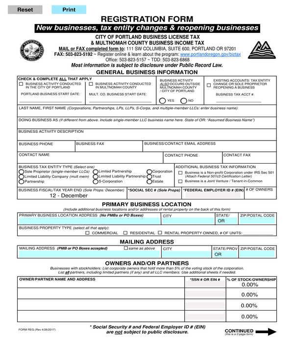 business change reopening registration form