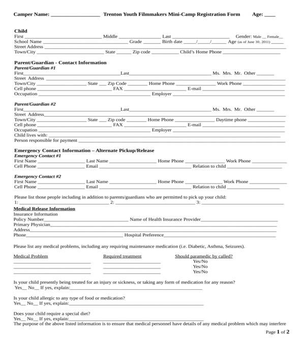 camp registration form in doc
