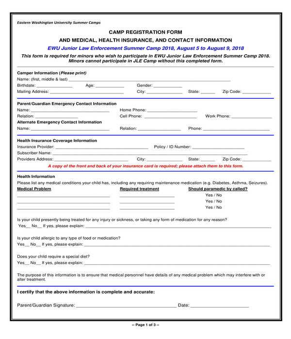camp registration and camper information form