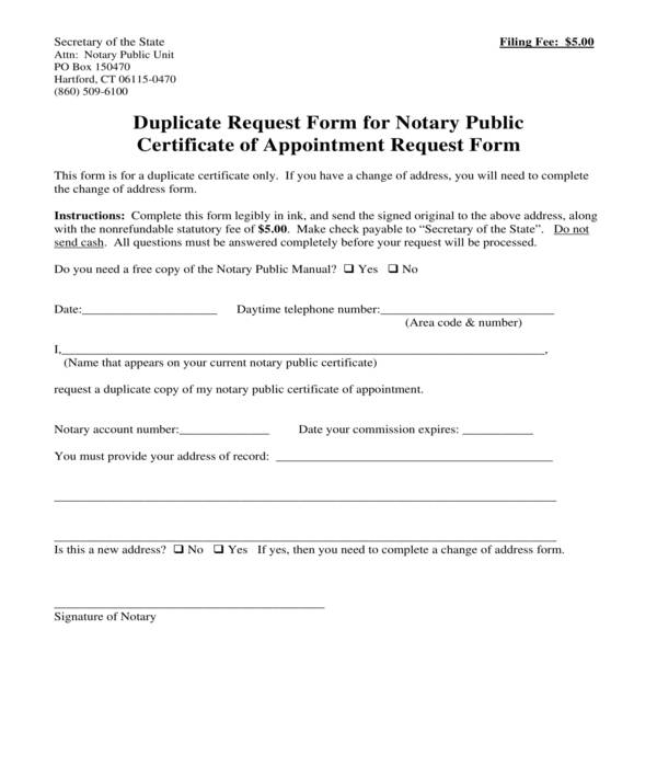 certificate of appointment request form
