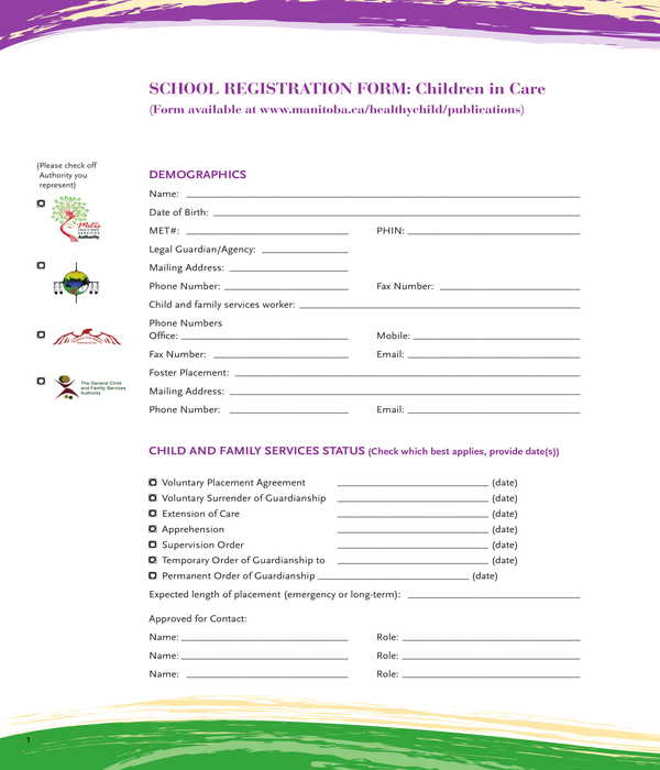 childcare school registration form