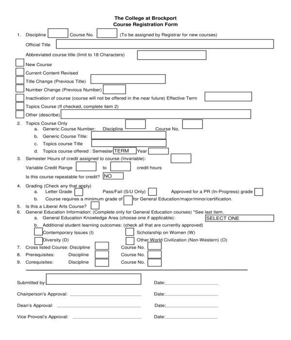 college course registration form