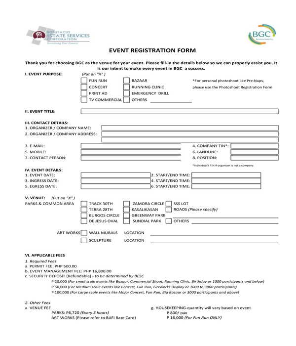 company event registration form