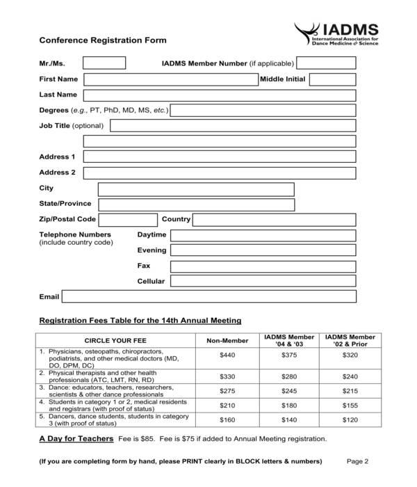 conference registration form sample