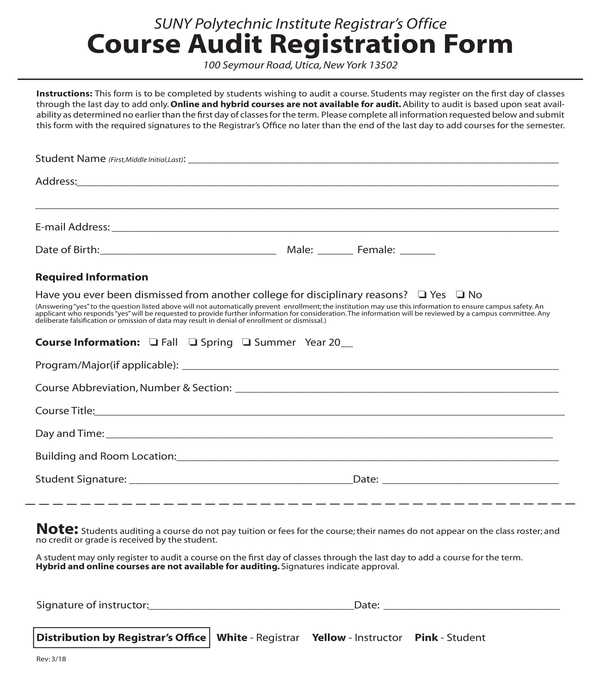 course audit registration form
