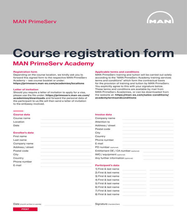course participant registration form