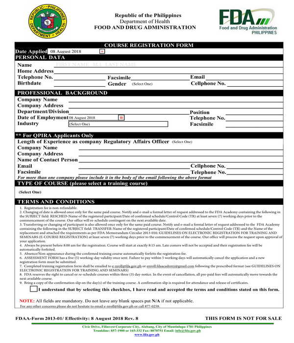 course registration form sample