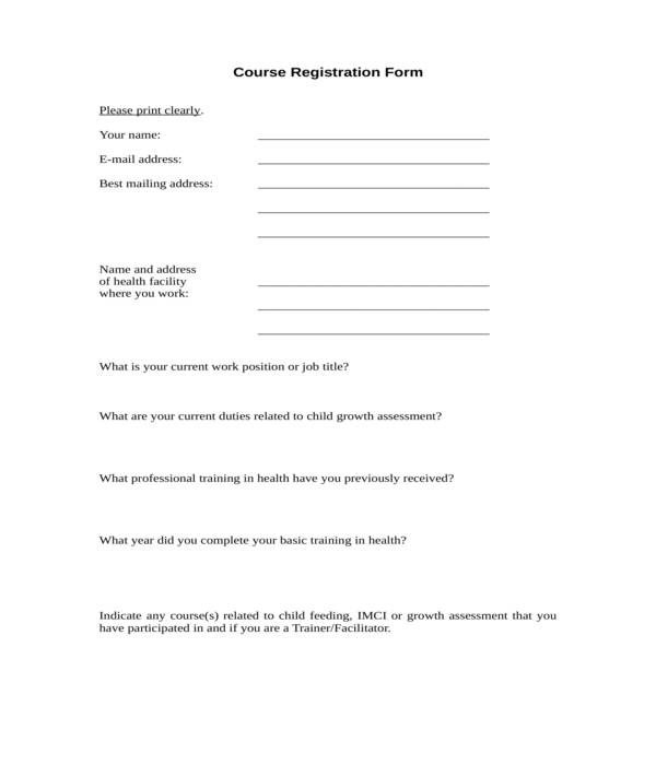 course registration form in doc