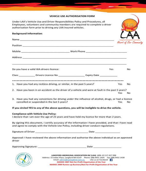 creative vehicle use authorization form