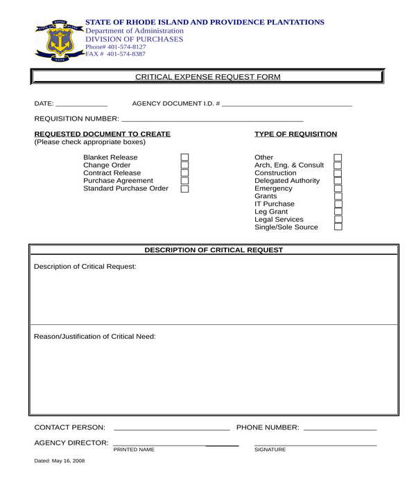 critical expense request form