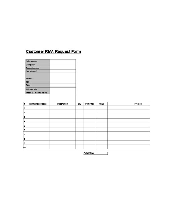customer data request form