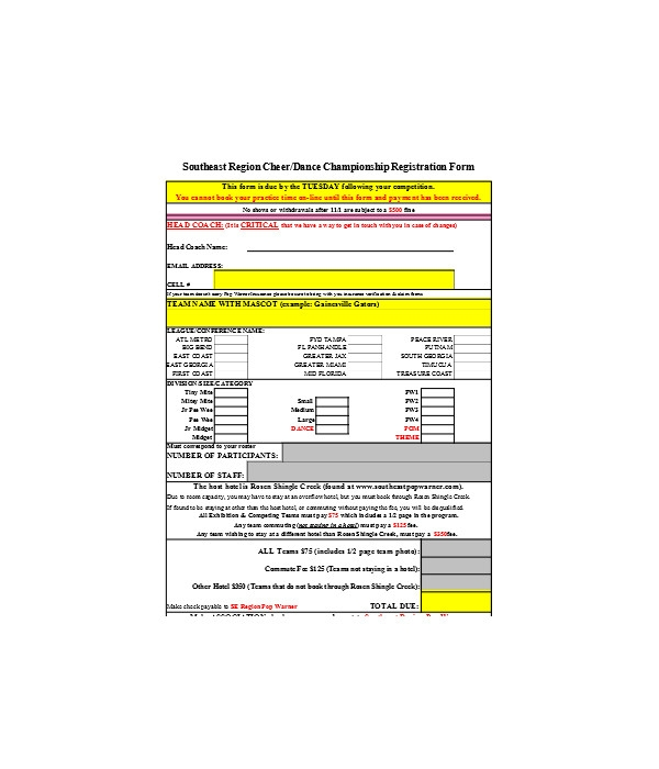 dance championship registration form
