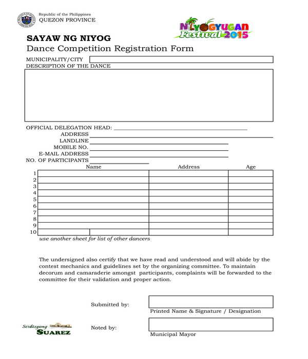 dance competition registration form