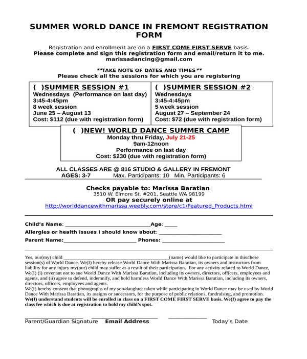 dance registration form in doc
