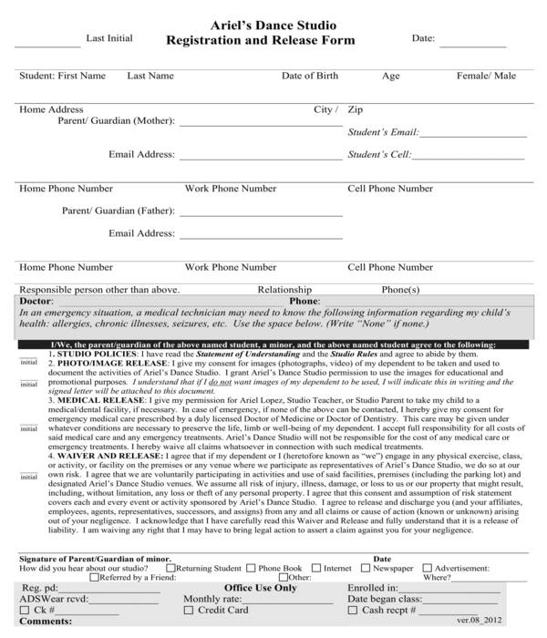 dance registration and release form