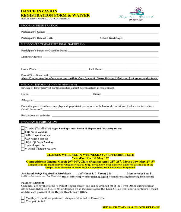 dance registration and waiver form