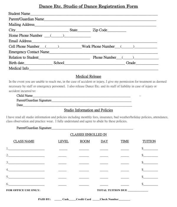 dance studio registration form