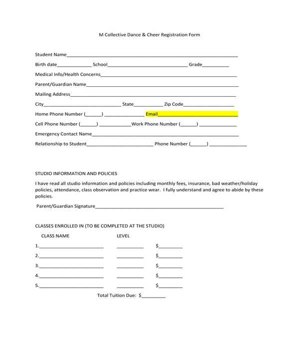 dance and cheer registration form