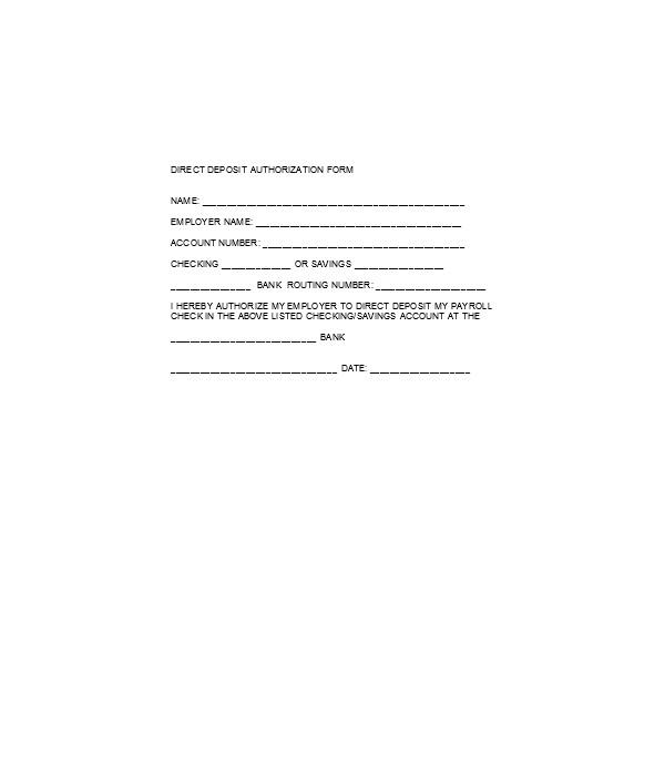 direct service deposit authorization form