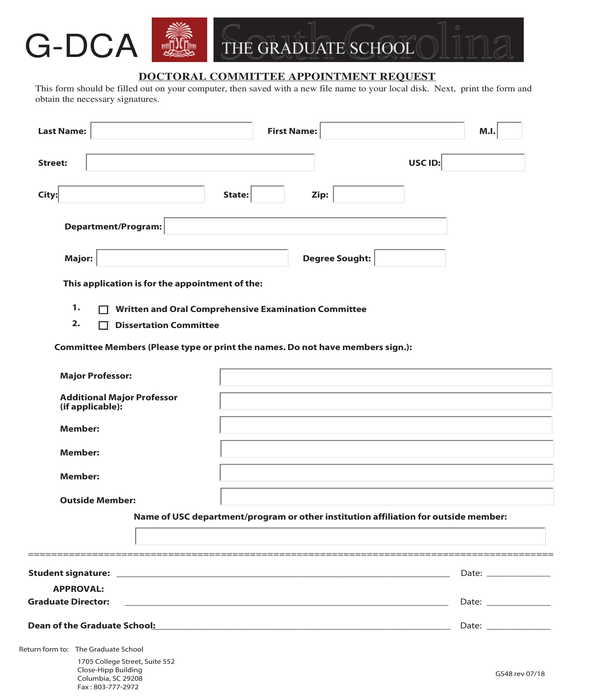 doctoral committee appointment request form