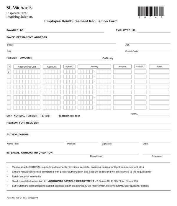 employee reimbursement requisition form
