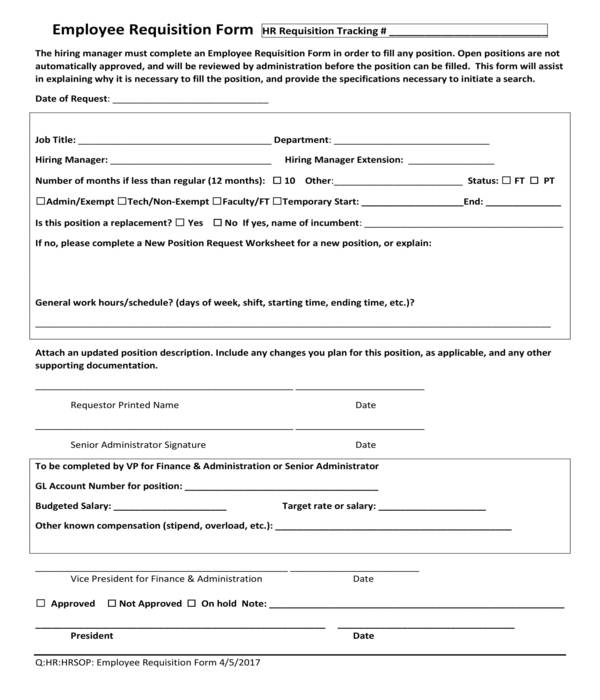 employee requisition form in pdf