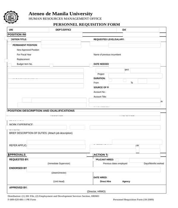 employee requisition form in xls
