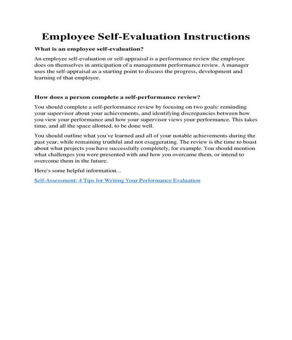 employee self evaluation instructions form