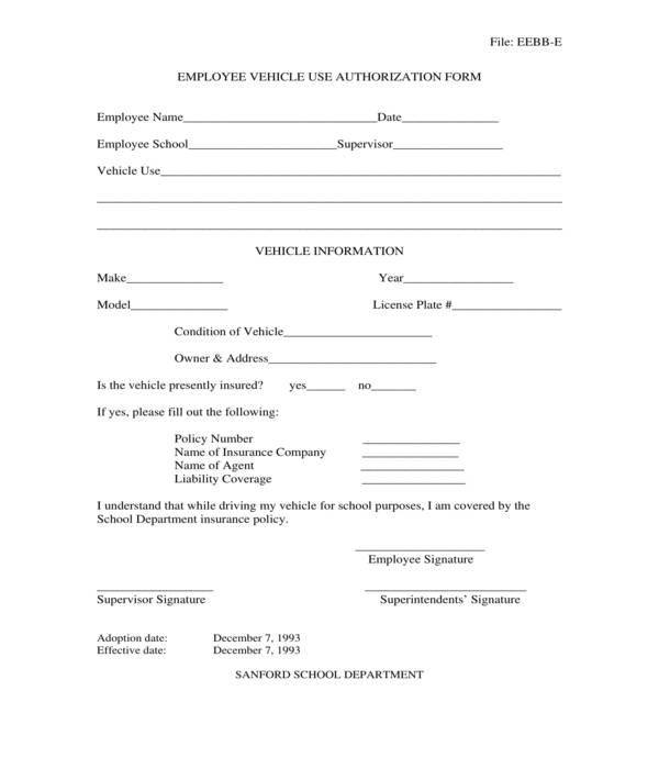employee vehicle use authorization form