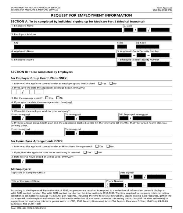 employment information request form