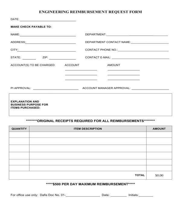 engineering reimbursement request form
