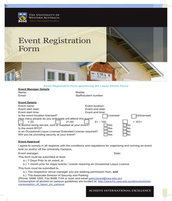 event registration form sample