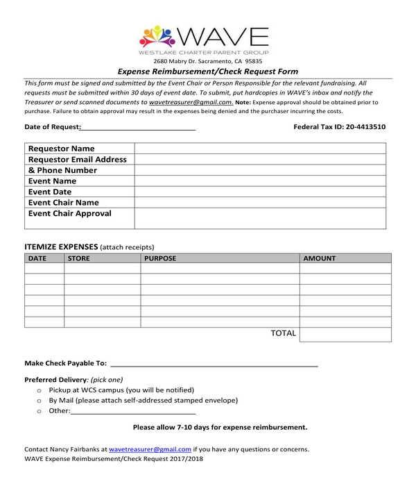 expense reimbursement check request form