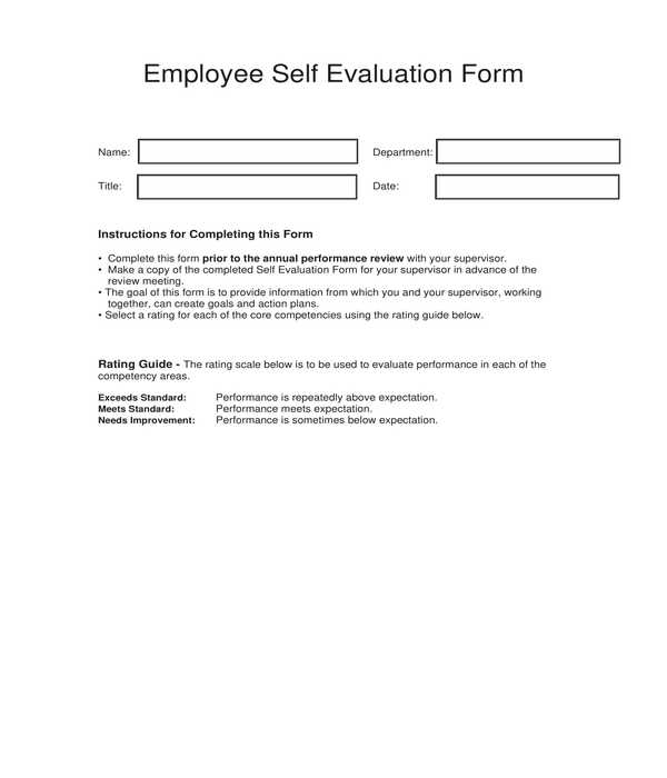 fillable employee self evaluation form