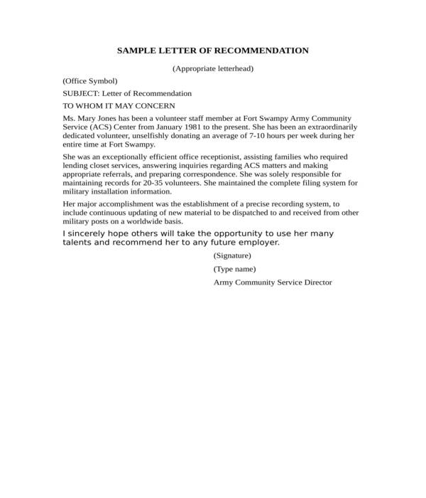 fillable military letter of recommendation form in doc